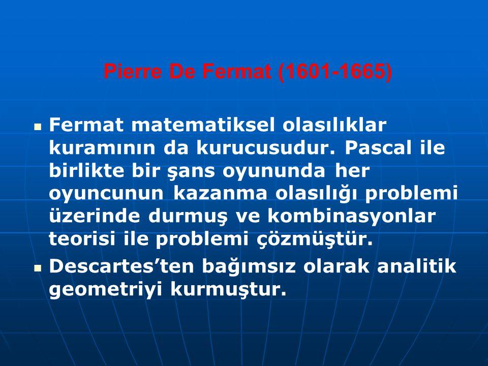 Pierre De Fermat (1601-1665) Fermat matematiksel olasılıklar kuramının da kurucusudur. Pascal ile birlikte bir şans oyununda her oyuncunun kazanma ola