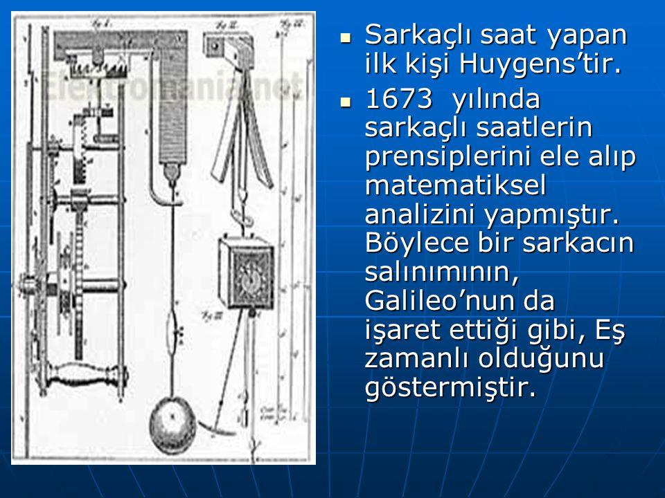 Sarkaçlı saat yapan ilk kişi Huygens'tir. Sarkaçlı saat yapan ilk kişi Huygens'tir. 1673 yılında sarkaçlı saatlerin prensiplerini ele alıp matematikse
