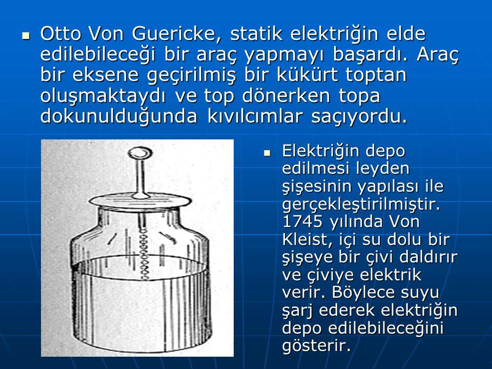 Elektriğin depo edilmesi leyden şişesinin yapılası ile gerçekleştirilmiştir. 1745 yılında Von Kleist, içi su dolu bir şişeye bir çivi daldırır ve çivi