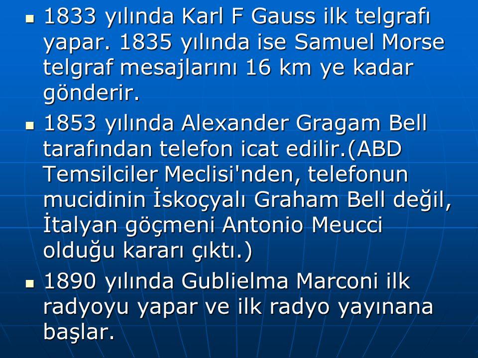 1833 yılında Karl F Gauss ilk telgrafı yapar. 1835 yılında ise Samuel Morse telgraf mesajlarını 16 km ye kadar gönderir. 1833 yılında Karl F Gauss ilk