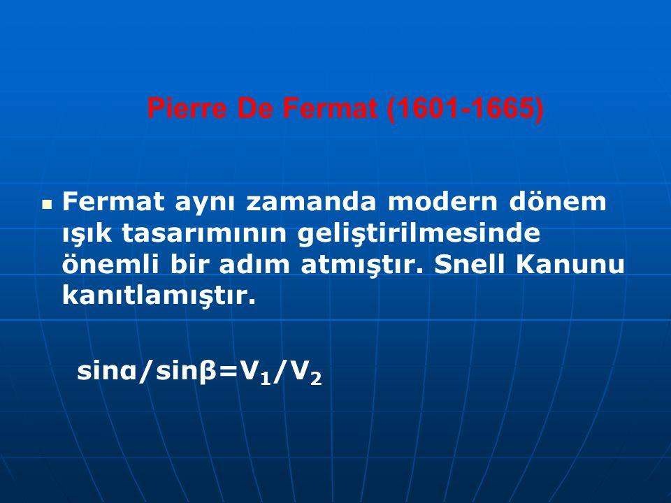 Pierre De Fermat (1601-1665) Fermat aynı zamanda modern dönem ışık tasarımının geliştirilmesinde önemli bir adım atmıştır. Snell Kanunu kanıtlamıştır.