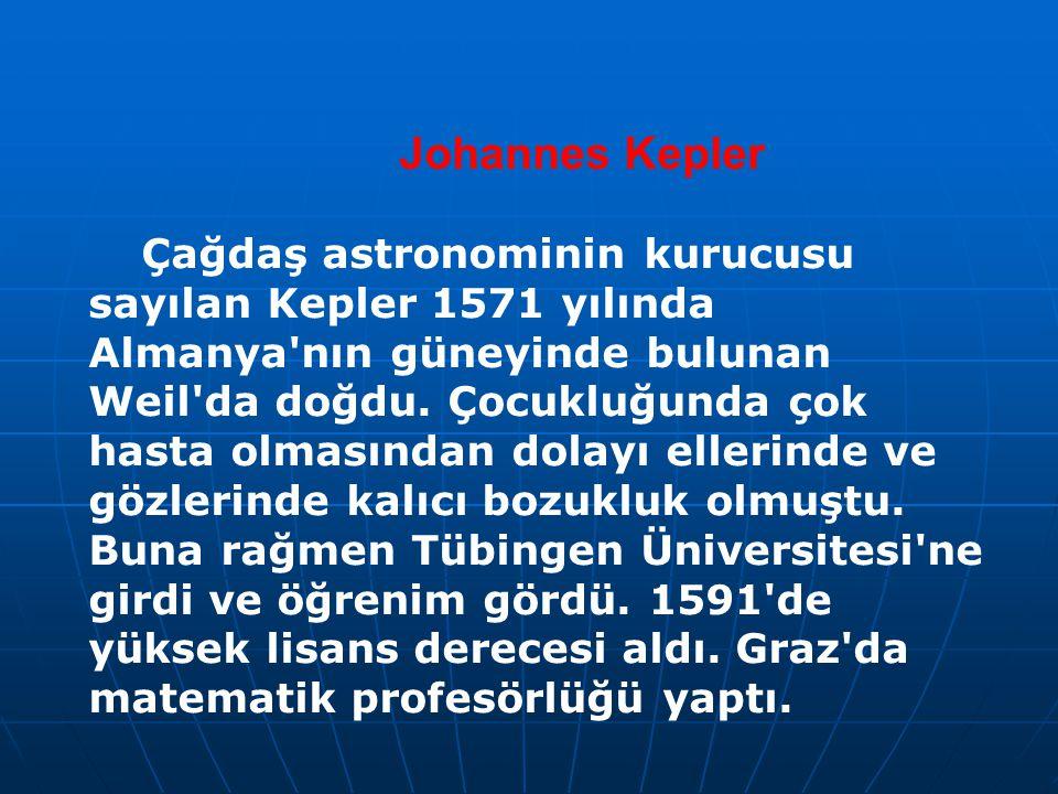 Johannes Kepler Çağdaş astronominin kurucusu sayılan Kepler 1571 yılında Almanya'nın güneyinde bulunan Weil'da doğdu. Çocukluğunda çok hasta olmasında