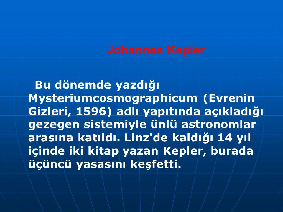 Johannes Kepler Bu dönemde yazdığı Mysteriumcosmographicum (Evrenin Gizleri, 1596) adlı yapıtında açıkladığı gezegen sistemiyle ünlü astronomlar arası