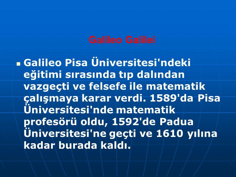 Galileo Galilei Galileo Pisa Üniversitesi'ndeki eğitimi sırasında tıp dalından vazgeçti ve felsefe ile matematik çalışmaya karar verdi. 1589'da Pisa Ü