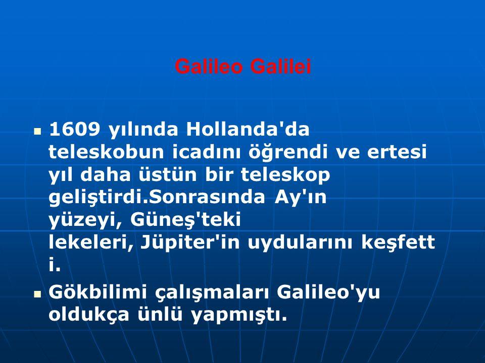 Galileo Galilei 1609 yılında Hollanda'da teleskobun icadını öğrendi ve ertesi yıl daha üstün bir teleskop geliştirdi.Sonrasında Ay'ın yüzeyi, Güneş'te