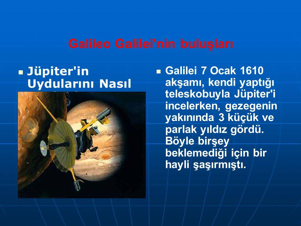 Galileo Galilei'nin buluşları Jüpiter'in Uydularını Nasıl Keşfetti? Galilei 7 Ocak 1610 akşamı, kendi yaptığı teleskobuyla Jüpiter'i incelerken, gezeg