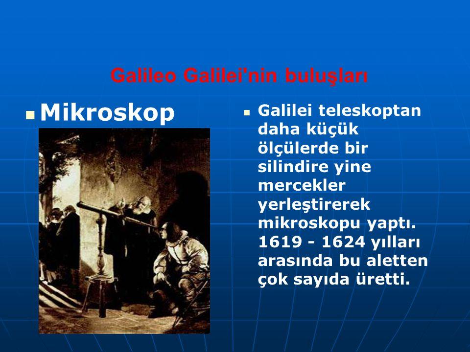 Galileo Galilei'nin buluşları Mikroskop Galilei teleskoptan daha küçük ölçülerde bir silindire yine mercekler yerleştirerek mikroskopu yaptı. 1619 - 1