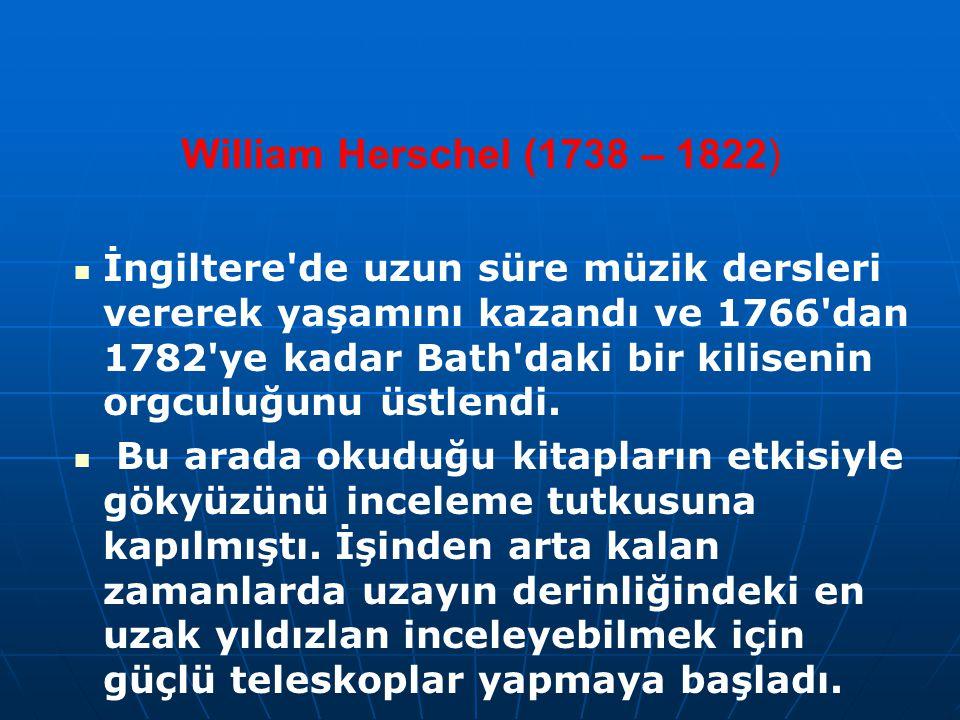 William Herschel (1738 – 1822) İngiltere'de uzun süre müzik dersleri vererek yaşamını kazandı ve 1766'dan 1782'ye kadar Bath'daki bir kilisenin orgcul