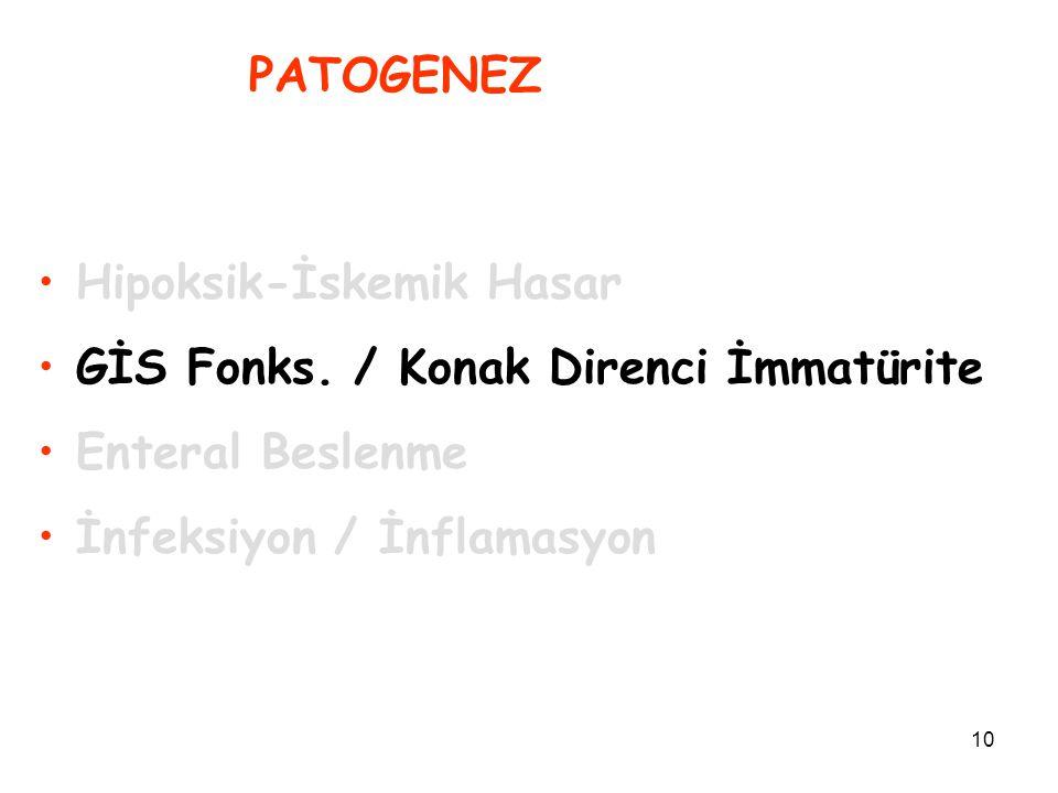 10 PATOGENEZ Hipoksik-İskemik Hasar GİS Fonks. / Konak Direnci İmmatürite Enteral Beslenme İnfeksiyon / İnflamasyon