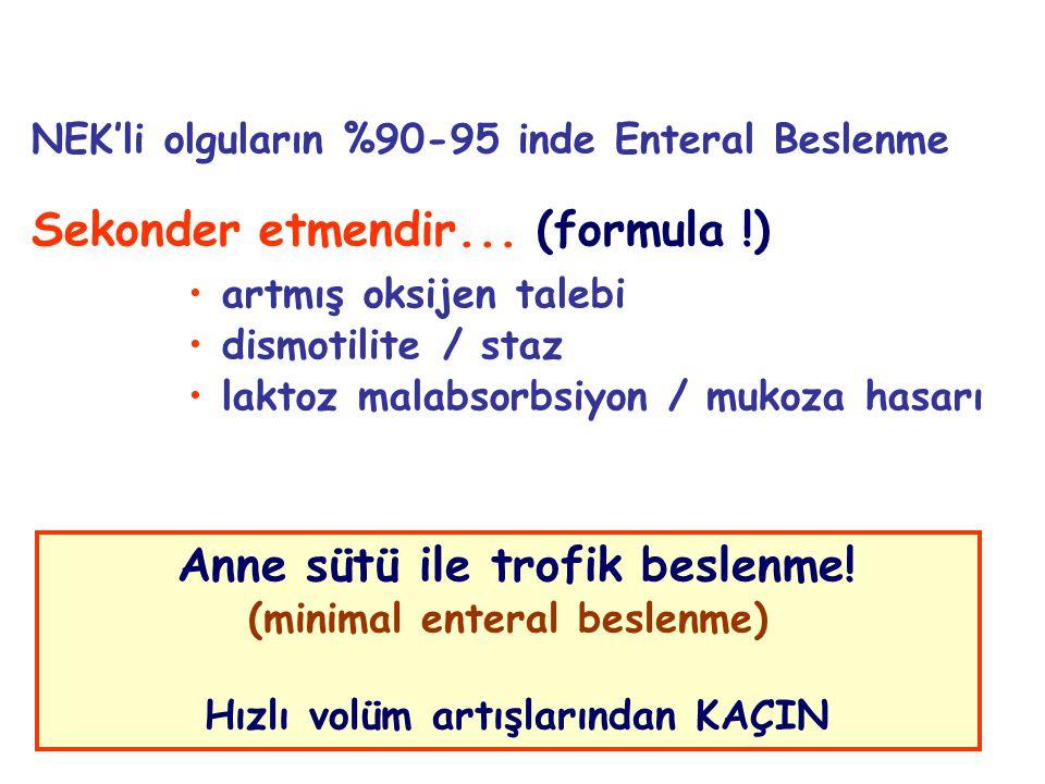 14 NEK'li olguların %90-95 inde Enteral Beslenme Sekonder etmendir... (formula !) artmış oksijen talebi dismotilite / staz laktoz malabsorbsiyon / muk