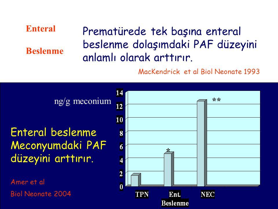 20 Enteral Beslenme Prematürede tek başına enteral beslenme dolaşımdaki PAF düzeyini anlamlı olarak arttırır. MacKendrick et al Biol Neonate 1993 * **