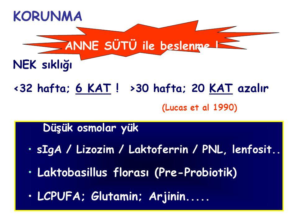35 KORUNMA NEK sıklığı 30 hafta; 20 KAT azalır (Lucas et al 1990) Düşük osmolar yük sIgA / Lizozim / Laktoferrin / PNL, lenfosit.. Laktobasillus flora
