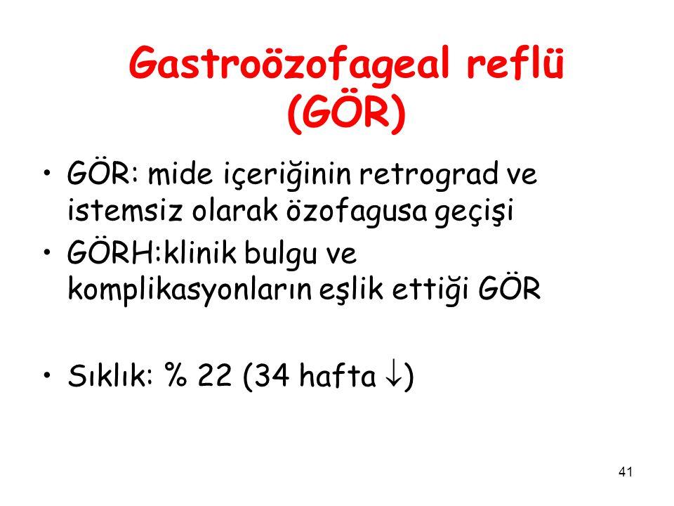 41 Gastroözofageal reflü (GÖR) GÖR: mide içeriğinin retrograd ve istemsiz olarak özofagusa geçişi GÖRH:klinik bulgu ve komplikasyonların eşlik ettiği