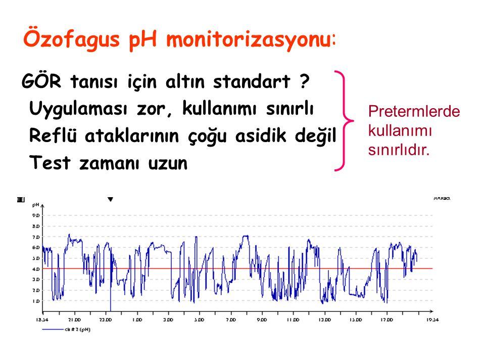 49 Özofagus pH monitorizasyonu: GÖR tanısı için altın standart ? Uygulaması zor, kullanımı sınırlı Reflü ataklarının çoğu asidik değil Test zamanı uzu