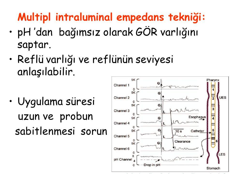 51 Multipl intraluminal empedans tekniği: pH 'dan bağımsız olarak GÖR varlığını saptar. Reflü varlığı ve reflünün seviyesi anlaşılabilir. Uygulama sür
