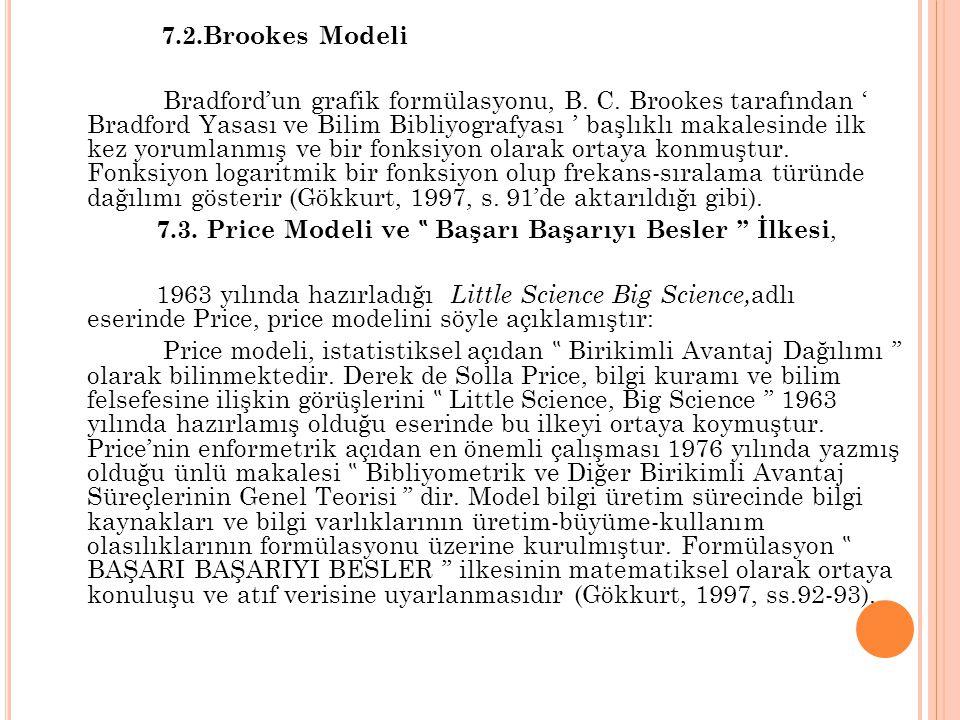 7.2.Brookes Modeli Bradford'un grafik formülasyonu, B. C. Brookes tarafından ' Bradford Yasası ve Bilim Bibliyografyası ' başlıklı makalesinde ilk kez