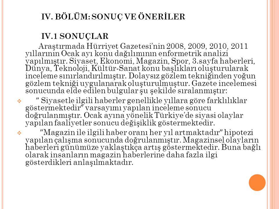 IV. BÖLÜM: SONUÇ VE ÖNERİLER IV.1 SONUÇLAR Araştırmada Hürriyet Gazetesi'nin 2008, 2009, 2010, 2011 yıllarının Ocak ayı konu dağılımının enformetrik a