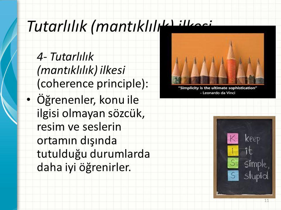 Tutarlılık (mantıklılık) ilkesi 4- Tutarlılık (mantıklılık) ilkesi (coherence principle): Öğrenenler, konu ile ilgisi olmayan sözcük, resim ve sesleri
