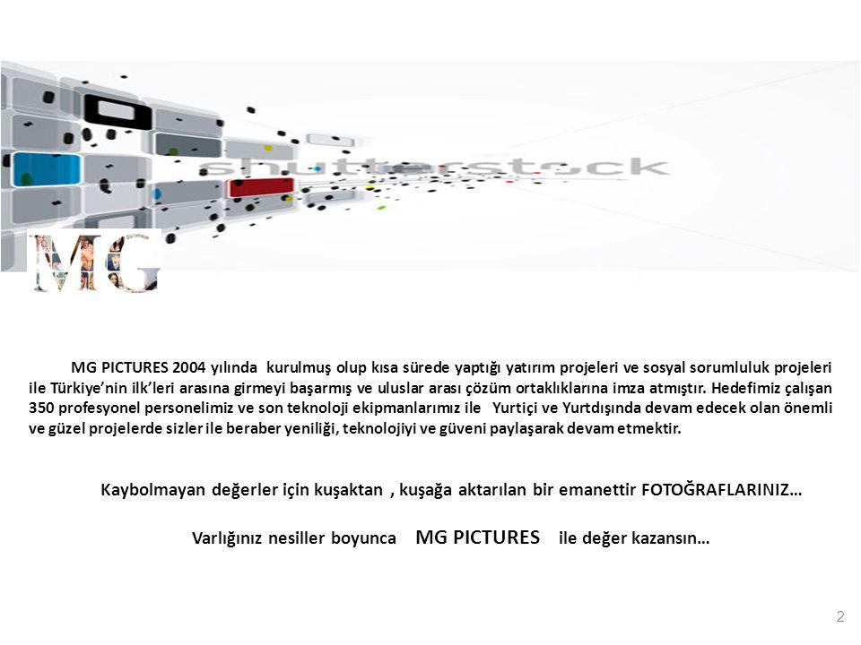 2 MG PICTURES 2004 yılında kurulmuş olup kısa sürede yaptığı yatırım projeleri ve sosyal sorumluluk projeleri ile Türkiye'nin ilk'leri arasına girmeyi