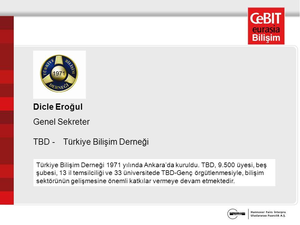 Dicle Eroğul Genel Sekreter TBD - Türkiye Bilişim Derneği Türkiye Bilişim Derneği 1971 yılında Ankara'da kuruldu.
