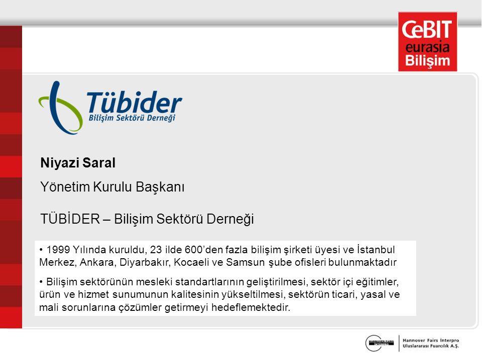 Niyazi Saral Yönetim Kurulu Başkanı TÜBİDER – Bilişim Sektörü Derneği 1999 Yılında kuruldu, 23 ilde 600'den fazla bilişim şirketi üyesi ve İstanbul Merkez, Ankara, Diyarbakır, Kocaeli ve Samsun şube ofisleri bulunmaktadır Bilişim sektörünün mesleki standartlarının geliştirilmesi, sektör içi eğitimler, ürün ve hizmet sunumunun kalitesinin yükseltilmesi, sektörün ticari, yasal ve mali sorunlarına çözümler getirmeyi hedeflemektedir.