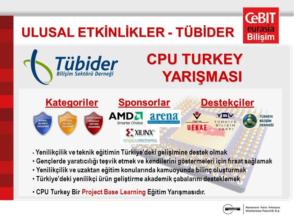ULUSAL ETKİNLİKLER - TÜBİDER CPU TURKEY YARIŞMASI Yenilikçilik ve teknik eğitimin Türkiye deki gelişimine destek olmak Gençlerde yaratıcılığı teşvik etmek ve kendilerini göstermeleri için fırsat sağlamak Yenilikçilik ve uzaktan eğitim konularında kamuoyunda bilinç oluşturmak Türkiye deki yenilikçi ürün geliştirme akademik çabalarını desteklemek CPU Turkey Bir Project Base Learning Eğitim Yarışmasıdır.