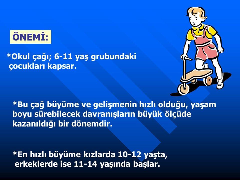 *Okul çağı; 6-11 yaş grubundaki çocukları kapsar. *Bu çağ büyüme ve gelişmenin hızlı olduğu, yaşam boyu sürebilecek davranışların büyük ölçüde kazanıl