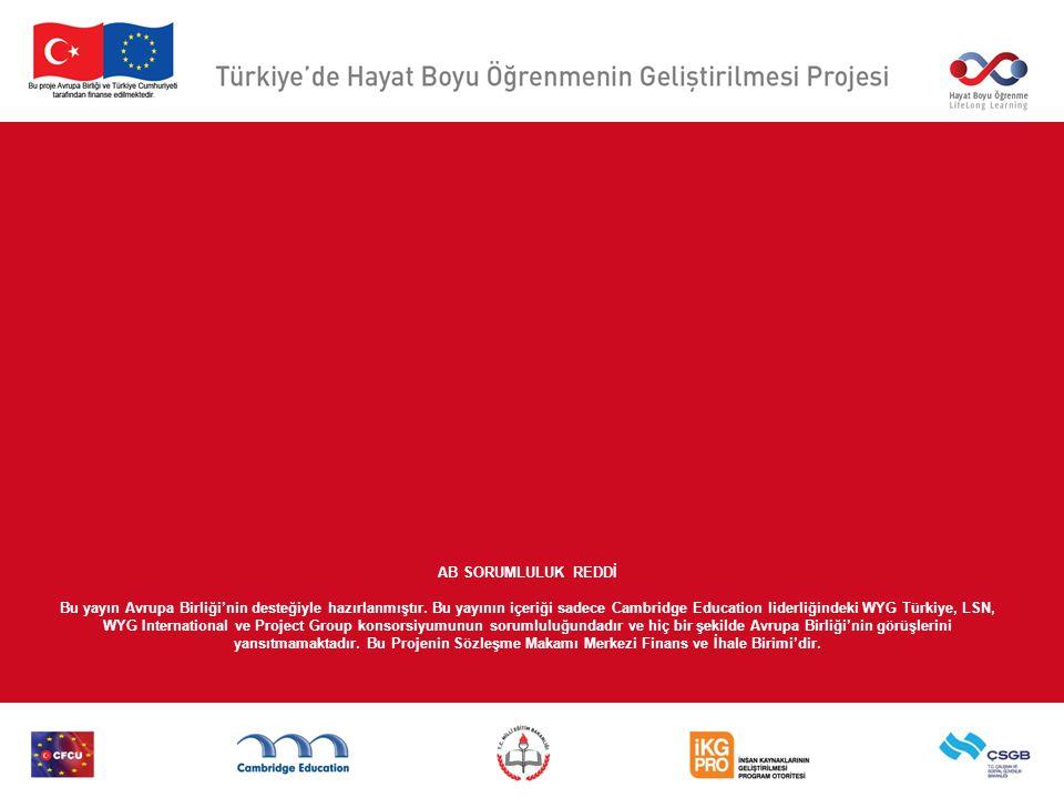 AB SORUMLULUK REDDİ Bu yayın Avrupa Birliği'nin desteğiyle hazırlanmıştır.
