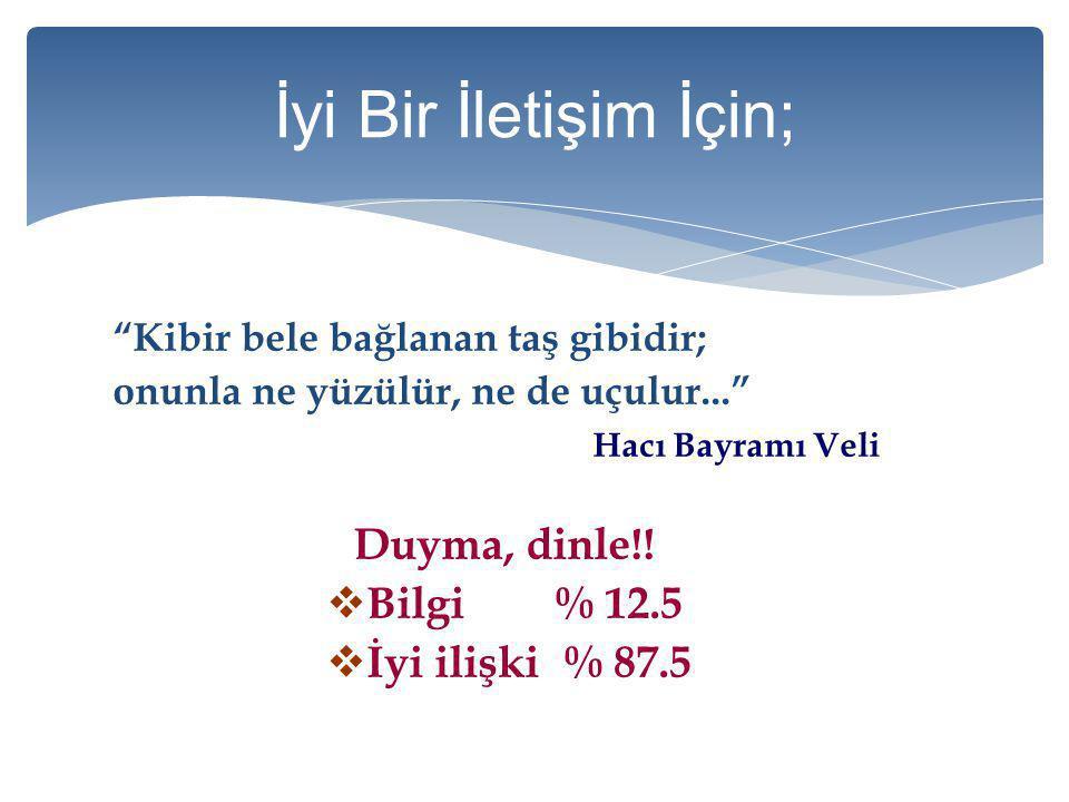 """""""Kibir bele bağlanan taş gibidir; onunla ne yüzülür, ne de uçulur..."""" Hacı Bayramı Veli Duyma, dinle!! BBilgi % 12.5 İİyi ilişki % 87.5"""