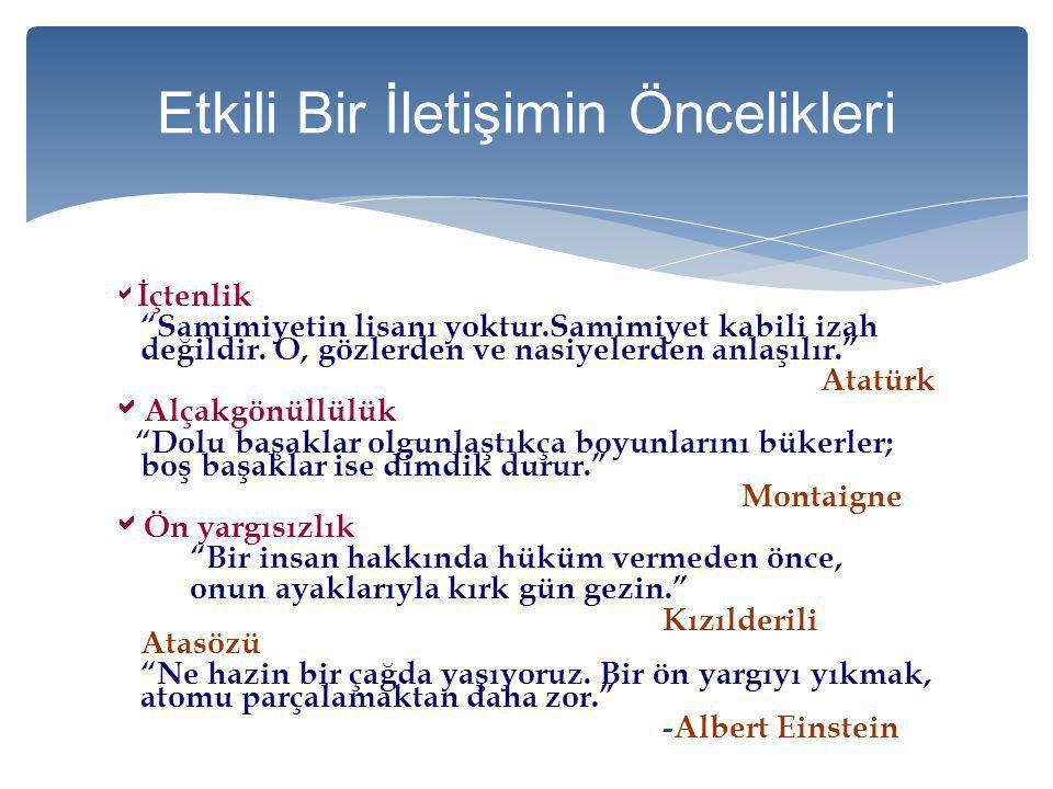 """ İçtenlik """"Samimiyetin lisanı yoktur.Samimiyet kabili izah değildir. O, gözlerden ve nasiyelerden anlaşılır."""" Atatürk  Alçakgönüllülük """"Dolu başakla"""