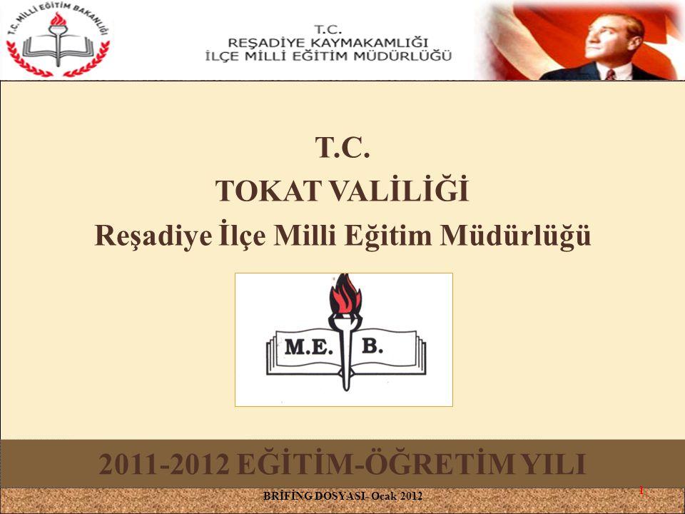 T.C. TOKAT VALİLİĞİ Reşadiye İlçe Milli Eğitim Müdürlüğü BRİFİNG DOSYASI- Ocak 2012 2011-2012 EĞİTİM-ÖĞRETİM YILI 1