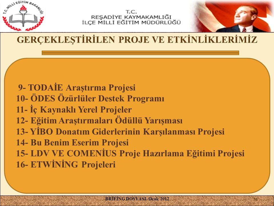 , GERÇEKLEŞTİRİLEN PROJE VE ETKİNLİKLERİMİZ BRİFİNG DOSYASI- Ocak 2012 9- TODAİE Araştırma Projesi 10- ÖDES Özürlüler Destek Programı 11- İç Kaynaklı