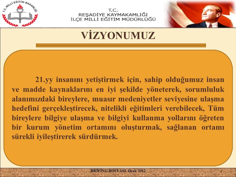 VİZYONUMUZ BRİFİNG DOSYASI- Ocak 2012 21.yy insanını yetiştirmek için, sahip olduğumuz insan ve madde kaynaklarını en iyi şekilde yöneterek, sorumlulu