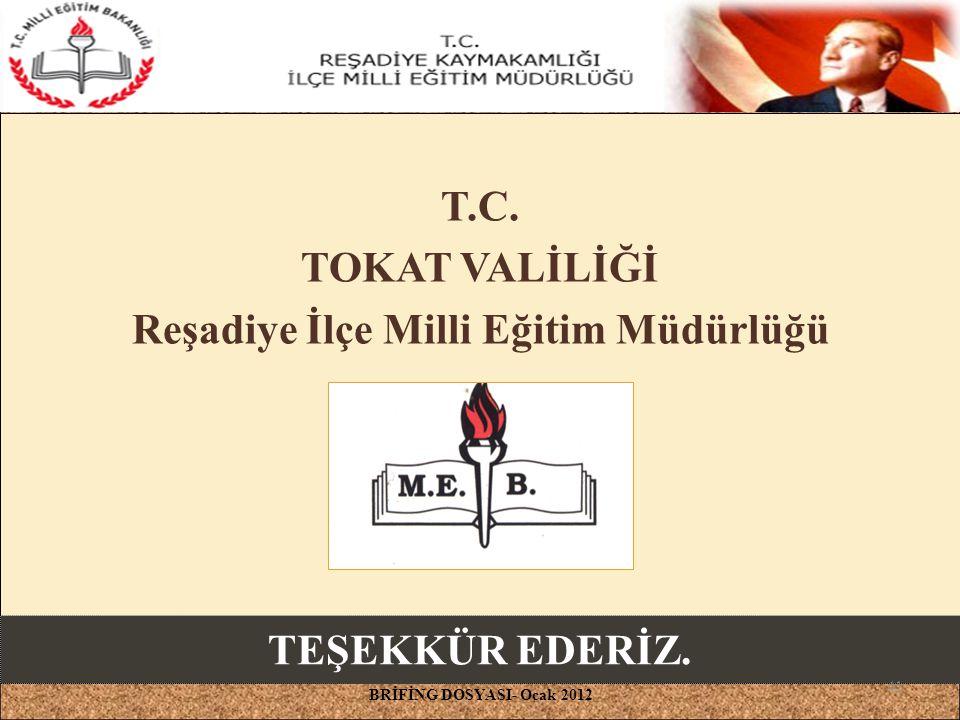 T.C. TOKAT VALİLİĞİ Reşadiye İlçe Milli Eğitim Müdürlüğü BRİFİNG DOSYASI- Ocak 2012 TEŞEKKÜR EDERİZ. 41
