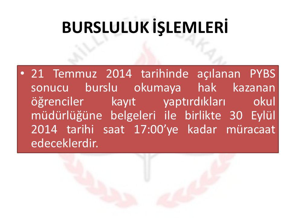 BURSLULUK İŞLEMLERİ 21 Temmuz 2014 tarihinde açılanan PYBS sonucu burslu okumaya hak kazanan öğrenciler kayıt yaptırdıkları okul müdürlüğüne belgeleri
