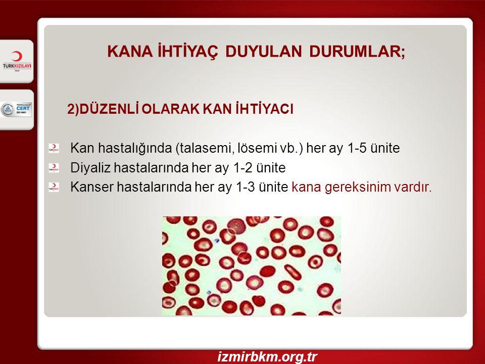 KANA İHTİYAÇ DUYULAN DURUMLAR; 2)DÜZENLİ OLARAK KAN İHTİYACI Kan hastalığında (talasemi, lösemi vb.) her ay 1-5 ünite Diyaliz hastalarında her ay 1-2