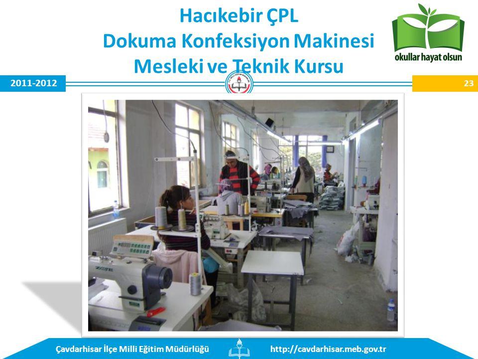 http://cavdarhisar.meb.gov.trÇavdarhisar İlçe Milli Eğitim Müdürlüğü 2011-2012 Hacıkebir ÇPL Dokuma Konfeksiyon Makinesi Mesleki ve Teknik Kursu 23