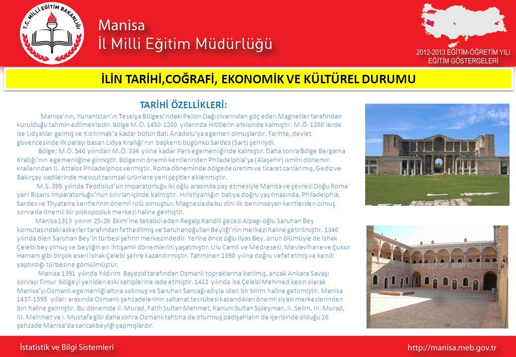TARİHİ ÖZELLİKLERİ: Bu dönem zarfında Manisa'da şehzadeler ve maiyyetlerindekiler cami, medrese, han, hamam, imaret, çeşme, hastane, köprü ve kütüphane gibi birçok vakıf eserleri yaptırmışlardır.