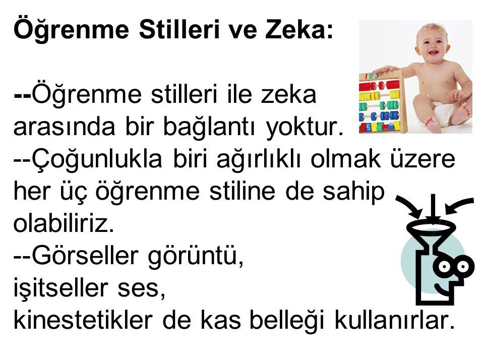 Öğrenme Stilleri ve Zeka: --Öğrenme stilleri ile zeka arasında bir bağlantı yoktur.