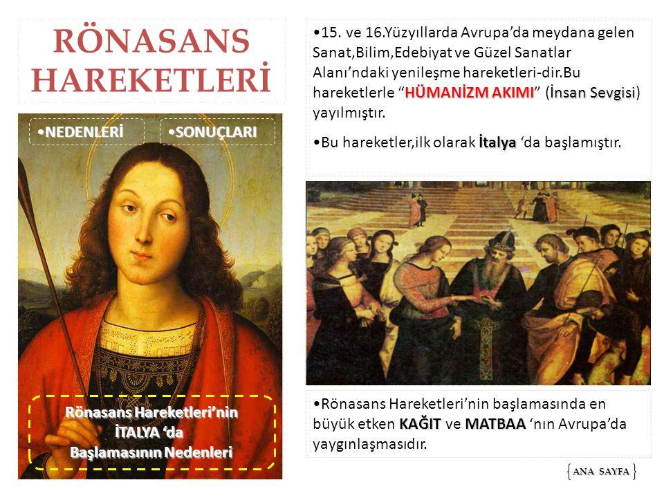 RÖNASANS HAREKETLERİ HÜMANİZM AKIMIİnsan Sevgisi15. ve 16.Yüzyıllarda Avrupa'da meydana gelen Sanat,Bilim,Edebiyat ve Güzel Sanatlar Alanı'ndaki yenil