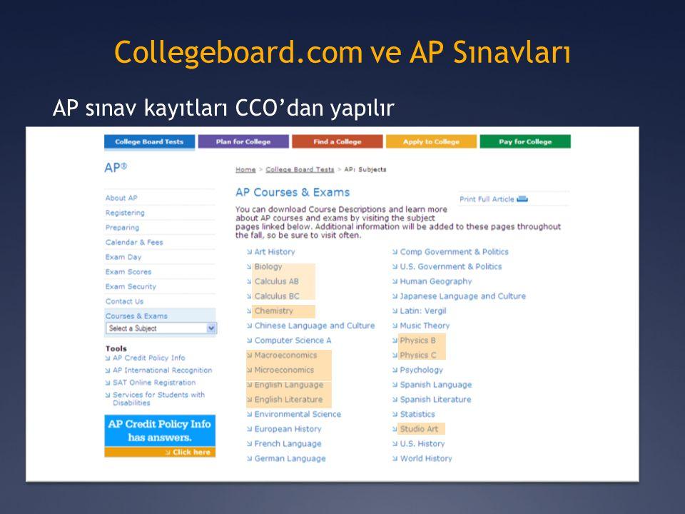 Collegeboard.com ve AP Sınavları AP sınav kayıtları CCO'dan yapılır