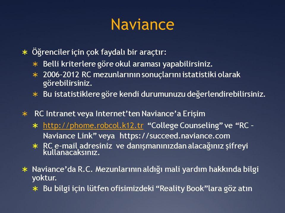 Naviance  Öğrenciler için çok faydalı bir araçtır:  Belli kriterlere göre okul araması yapabilirsiniz.