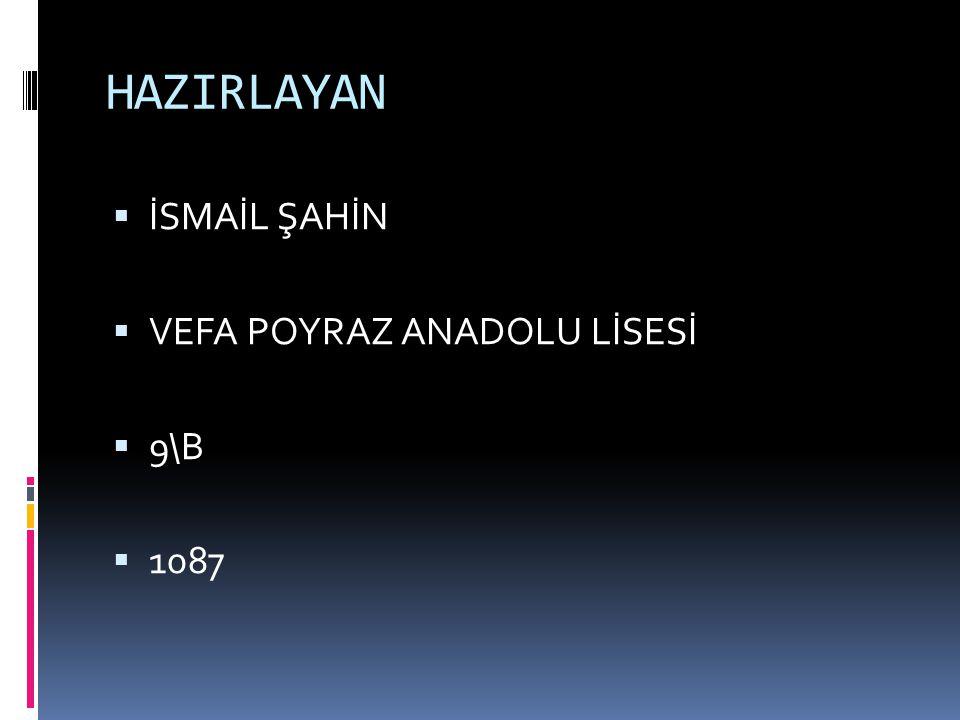 HAZIRLAYAN  İSMAİL ŞAHİN  VEFA POYRAZ ANADOLU LİSESİ  9\B  1087