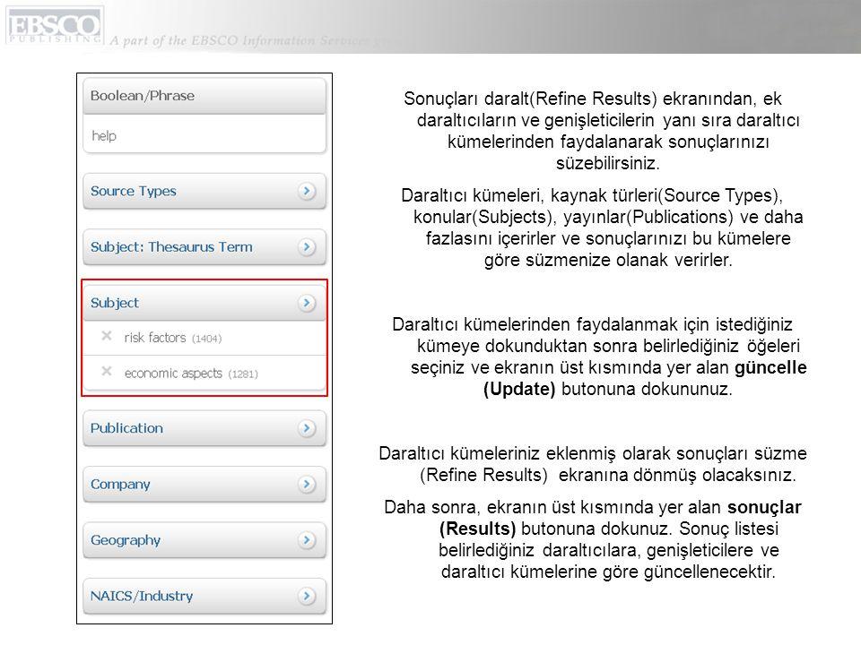 Makele künyesi ekranından, E-mail simgesine dokunarak makaleyi e-mail ile gönderebilirsiniz.