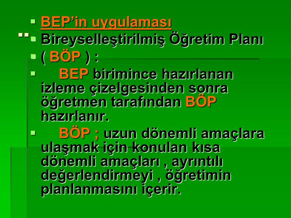 ..  BEP'in uygulaması  Bireyselleştirilmiş Öğretim Planı  ( BÖP ) :  BEP birimince hazırlanan izleme çizelgesinden sonra öğretmen tarafından BÖP h