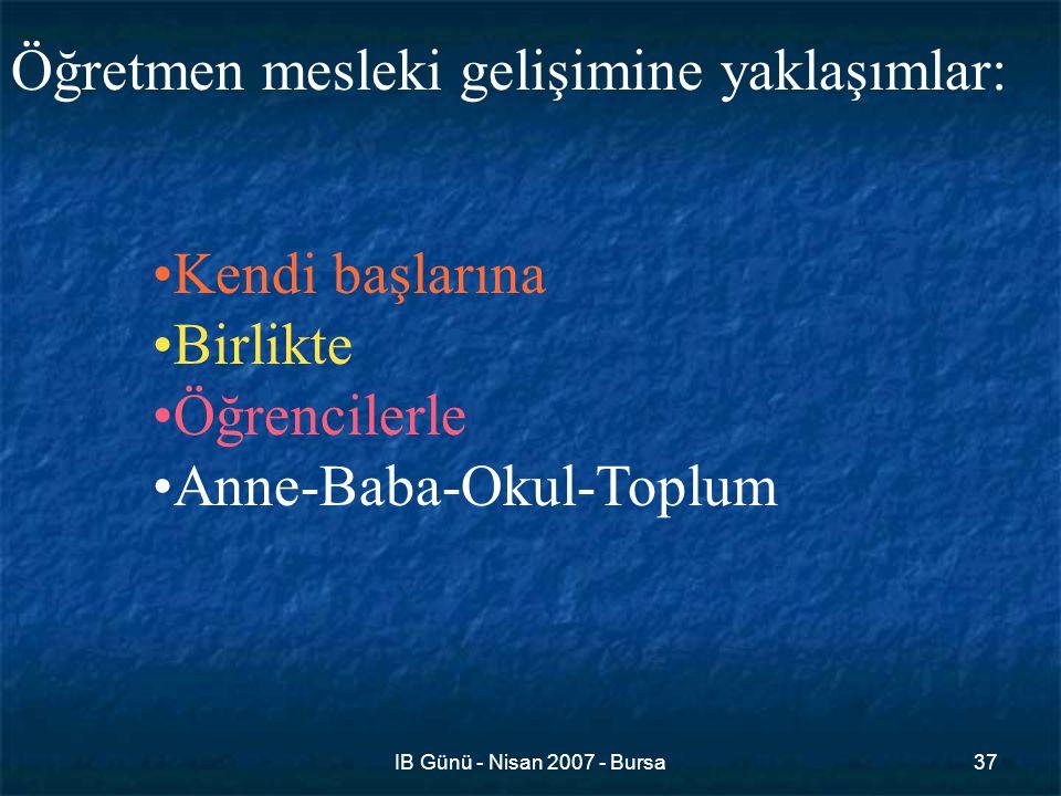 IB Günü - Nisan 2007 - Bursa37 Öğretmen mesleki gelişimine yaklaşımlar: Kendi başlarına Birlikte Öğrencilerle Anne-Baba-Okul-Toplum