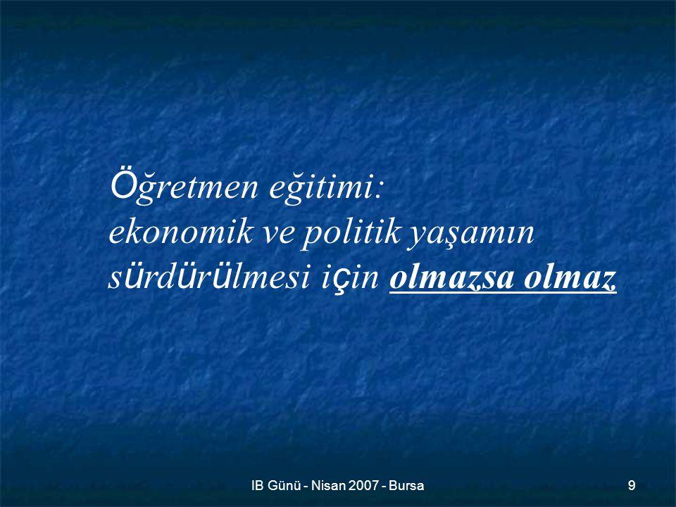 IB Günü - Nisan 2007 - Bursa9 Ö ğretmen eğitimi: ekonomik ve politik yaşamın s ü rd ü r ü lmesi i ç in olmazsa olmaz