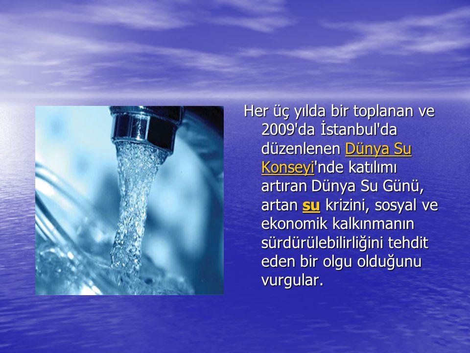 Her üç yılda bir toplanan ve 2009 da İstanbul da düzenlenen Dünya Su Konseyi nde katılımı artıran Dünya Su Günü, artan su krizini, sosyal ve ekonomik kalkınmanın sürdürülebilirliğini tehdit eden bir olgu olduğunu vurgular.