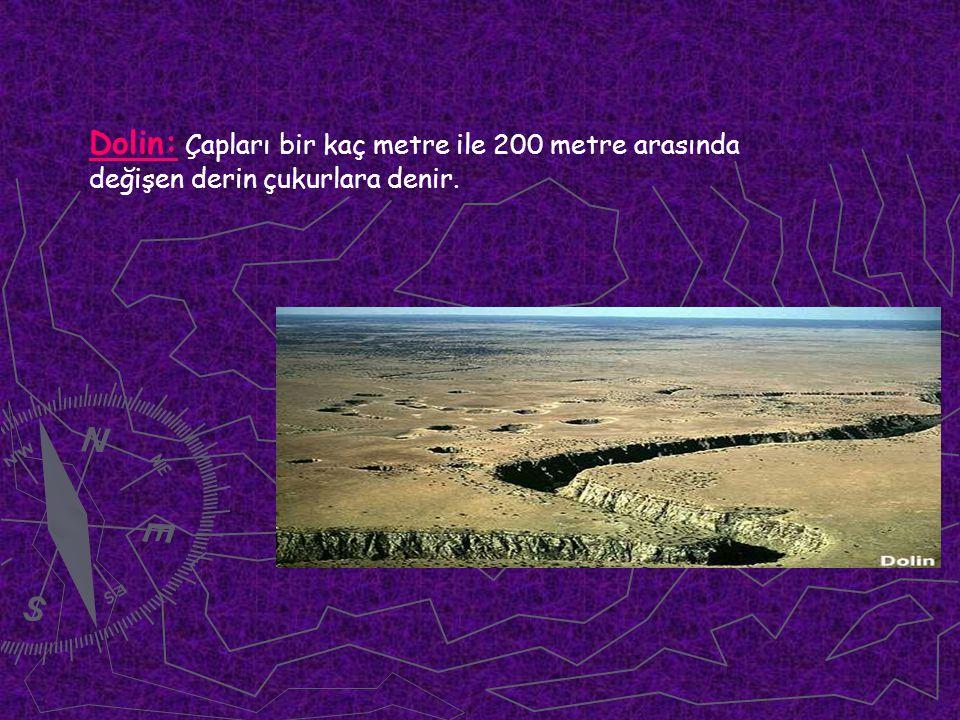Dolin: Çapları bir kaç metre ile 200 metre arasında değişen derin çukurlara denir.