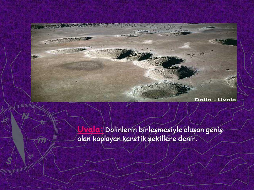 Uvala: Dolinlerin birleşmesiyle oluşan geniş alan kaplayan karstik şekillere denir.